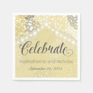 Flowers and String Lights Wedding Napkins Paper Napkin