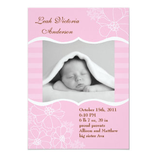 Flowers and Stripes Photo Birth Announcement