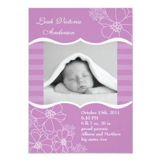 """Flowers and Stripes Photo Birth Announcement 5"""" X 7"""" Invitation Card"""