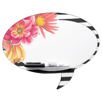 Flowers and Stripes Speech Bubble Message Board