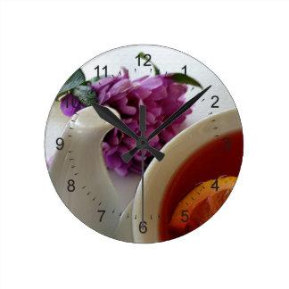 flowers and tea wallclock