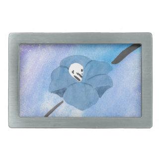 Flowers And Tiny Skull Rectangular Belt Buckle