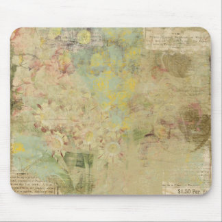 flowers and vintage newspaper collage mouse pads