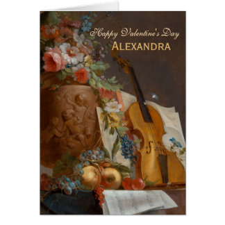 Flowers and violin CC0642 Valentine Greeting Card