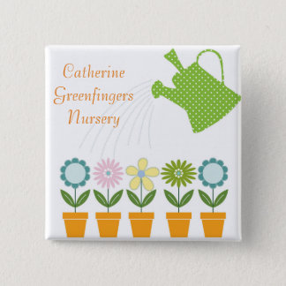 Flowers and Watering Can Gardening Fun 2 Inch Square Button
