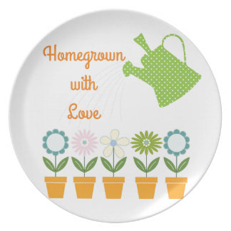 Flowers and Watering Can Gardening Fun Dinner Plates