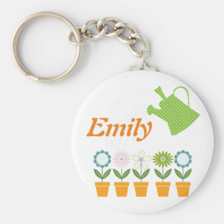 Flowers and Watering Can Gardening Fun Keychain