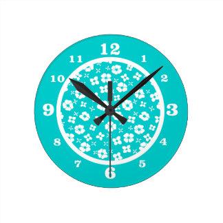 Flowers- Aqua Round Clock