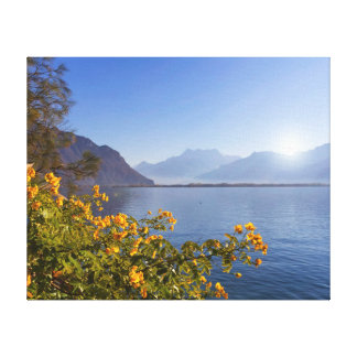 Flowers at Geneva lake, Montreux, Switzerland Canvas Print