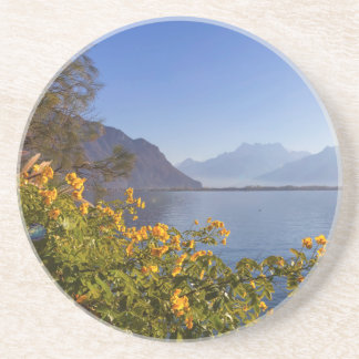 Flowers at Geneva lake, Montreux, Switzerland Coaster