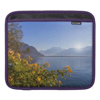 Flowers at Geneva lake, Montreux, Switzerland iPad Sleeve