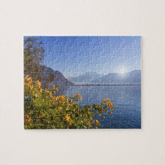 Flowers at Geneva lake, Montreux, Switzerland Jigsaw Puzzle