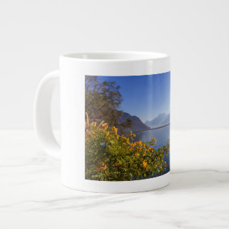 Flowers at Geneva lake, Montreux, Switzerland Large Coffee Mug