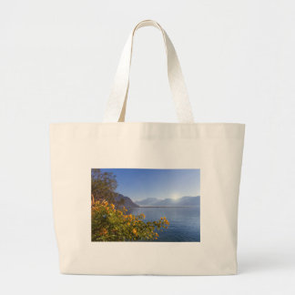 Flowers at Geneva lake, Montreux, Switzerland Large Tote Bag