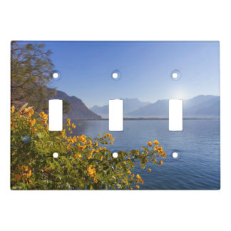 Flowers at Geneva lake, Montreux, Switzerland Light Switch Cover
