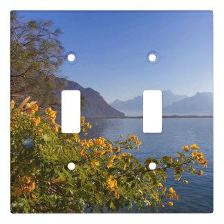 Flowers at Geneva lake, Montreux, Switzerland Light Switch Cover