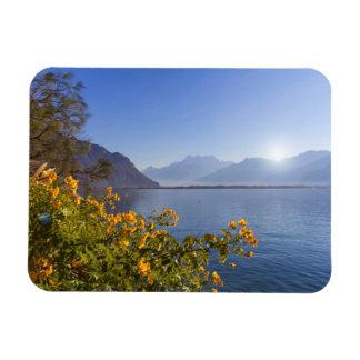 Flowers at Geneva lake, Montreux, Switzerland Magnet