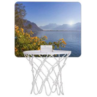 Flowers at Geneva lake, Montreux, Switzerland Mini Basketball Hoop