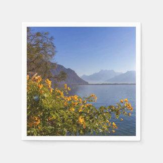 Flowers at Geneva lake, Montreux, Switzerland Paper Napkin