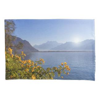 Flowers at Geneva lake, Montreux, Switzerland Pillowcase