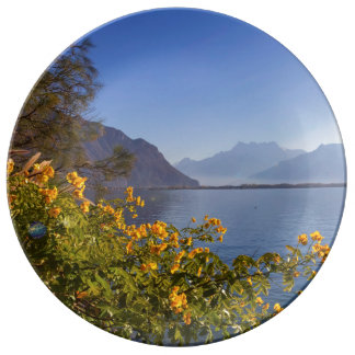 Flowers at Geneva lake, Montreux, Switzerland Plate