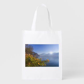 Flowers at Geneva lake, Montreux, Switzerland Reusable Grocery Bag