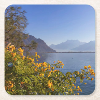 Flowers at Geneva lake, Montreux, Switzerland Square Paper Coaster