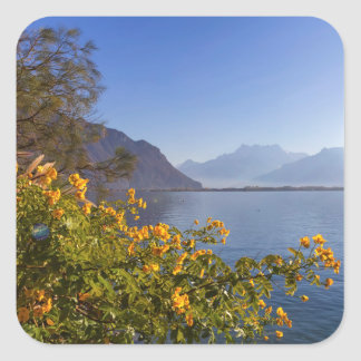 Flowers at Geneva lake, Montreux, Switzerland Square Sticker