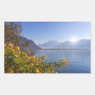 Flowers at Geneva lake, Montreux, Switzerland Sticker