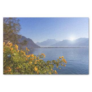 Flowers at Geneva lake, Montreux, Switzerland Tissue Paper