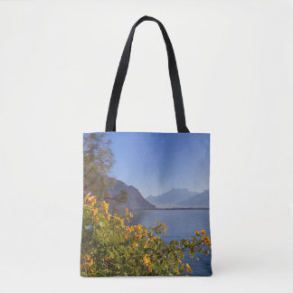 Flowers at Geneva lake, Montreux, Switzerland Tote Bag