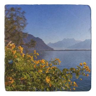 Flowers at Geneva lake, Montreux, Switzerland Trivet