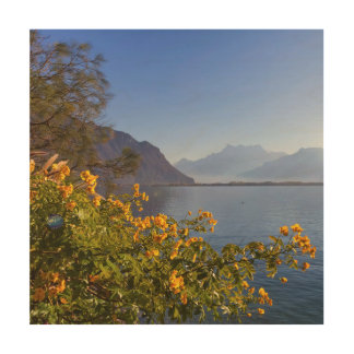 Flowers at Geneva lake, Montreux, Switzerland Wood Wall Decor