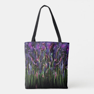 Flowers At Midnight Abstract Tote Bag