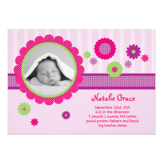 Flowers Baby Girl Photo Birth Announcement