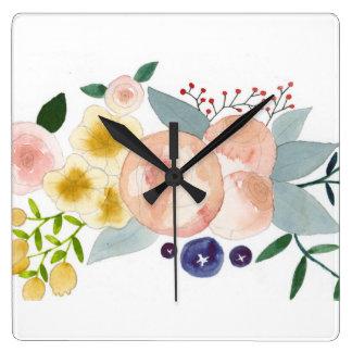 Flowers, Berries, and Leaves Watercolor Clock