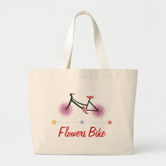Flowers Bike Large Tote Bag