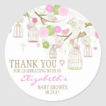 Flowers & Birdcages Thank You Baby Shower Sticker