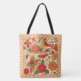 Flowers Birds and Butterflies Boho Chic Tote Bag