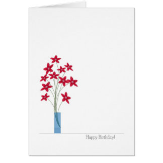 Flowers Birthday Cards, Cute Colorful Red Flowers Card