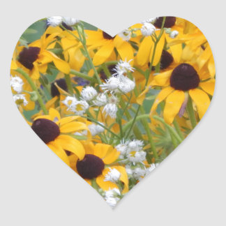 Flowers Black eyed susan's Heart Sticker