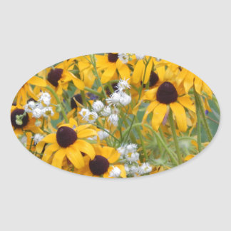 Flowers Black eyed susan's Oval Sticker