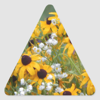 Flowers Black eyed susan's Triangle Sticker