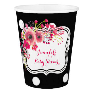 Flowers black polka dots fashion baby shower paper cup