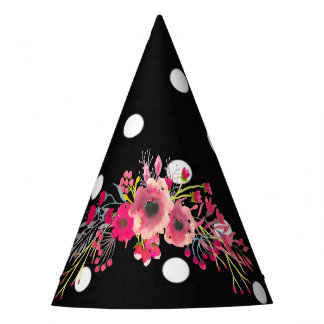 Flowers black polka dots glamour modern fashion party hat