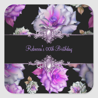 Flowers Black Purple Floral Birthday Party Square Sticker