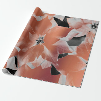 Flowers Black White Copper Coral Metallic VIP Leaf Wrapping Paper