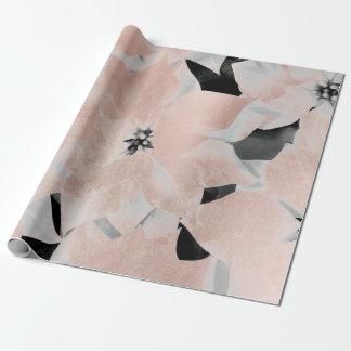 Flowers Black White Faux Gold Blush Metallic Pink Wrapping Paper