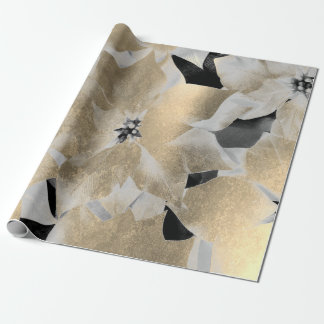 Flowers Black White Faux Gold Sepia Metallic VIP Wrapping Paper