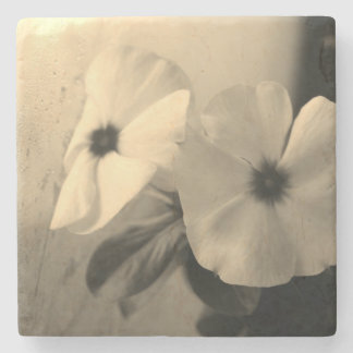Flowers Black White photo Marble Stone Coaster